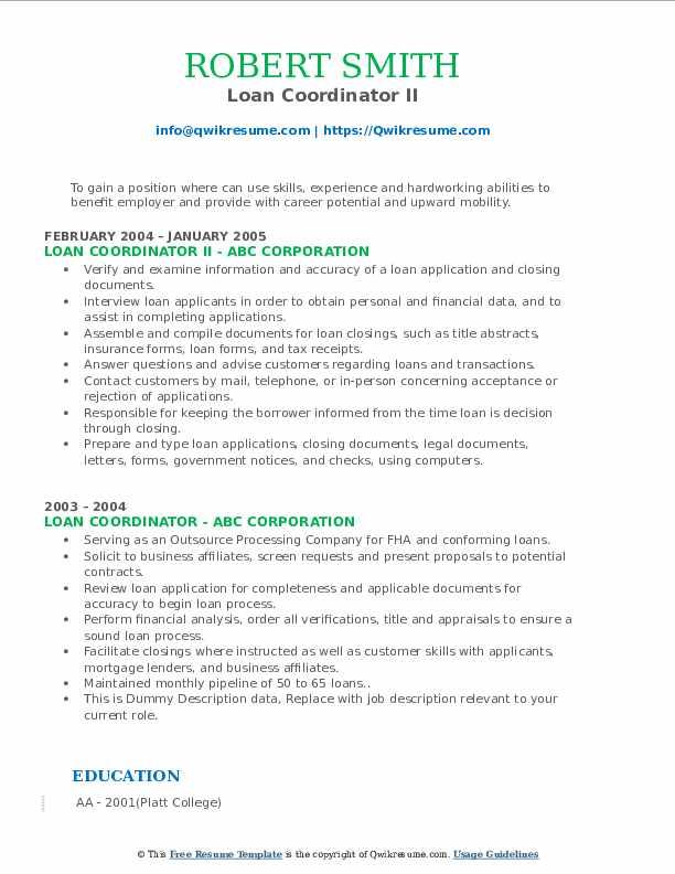 Loan Coordinator II Resume Format