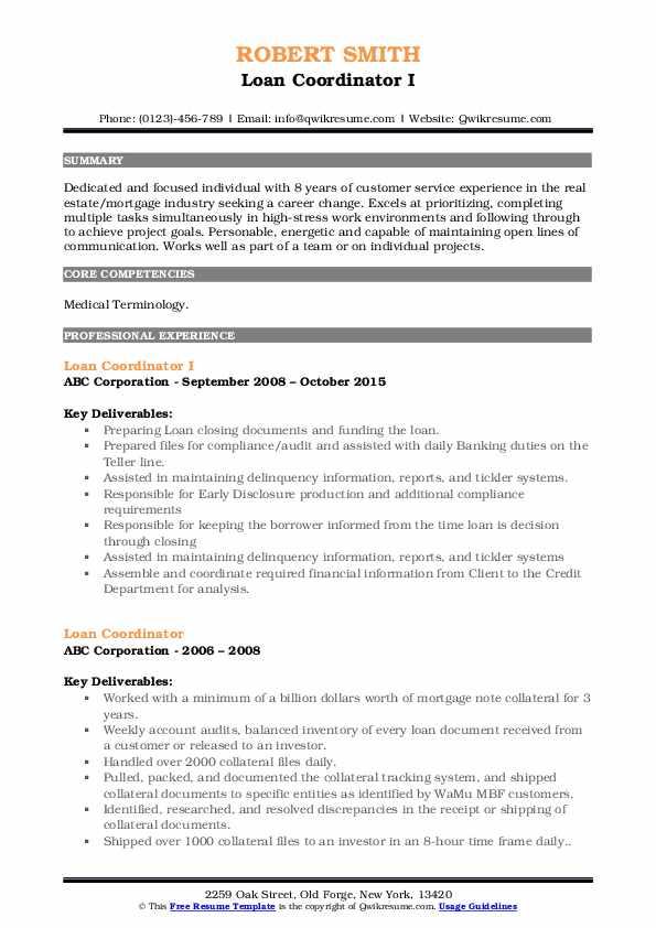 Loan Coordinator I Resume Format