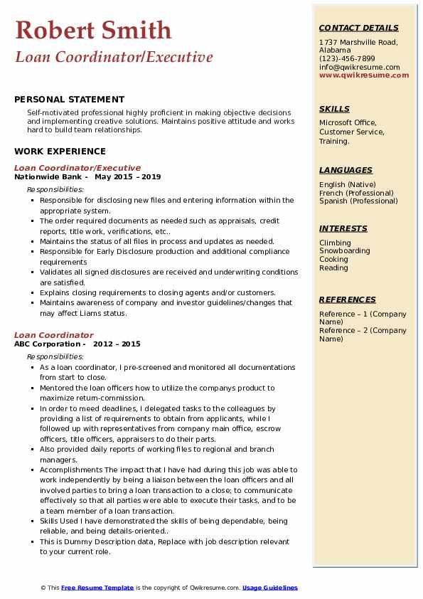 Loan Coordinator/Executive Resume Template