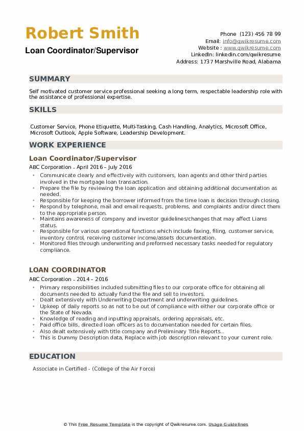 Loan Coordinator/Supervisor Resume Model