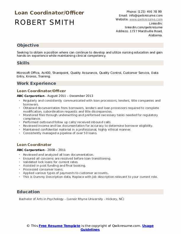 Loan Coordinator/Officer Resume Format