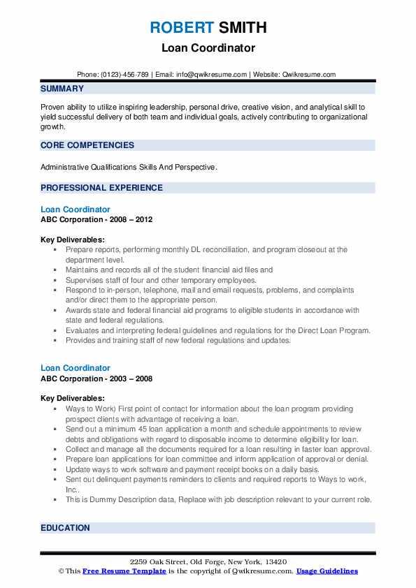 Loan Coordinator Resume example