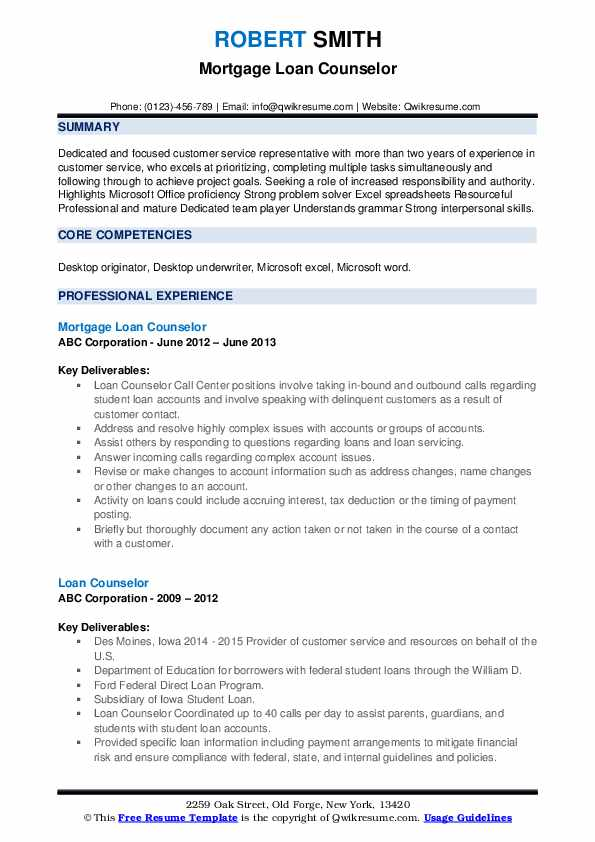 Mortgage Loan Counselor Resume Template