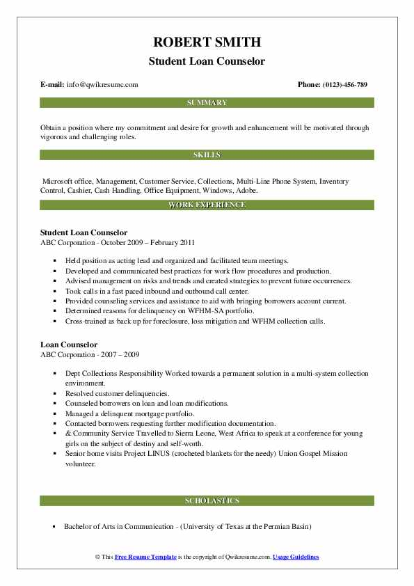 Student Loan Counselor Resume Template