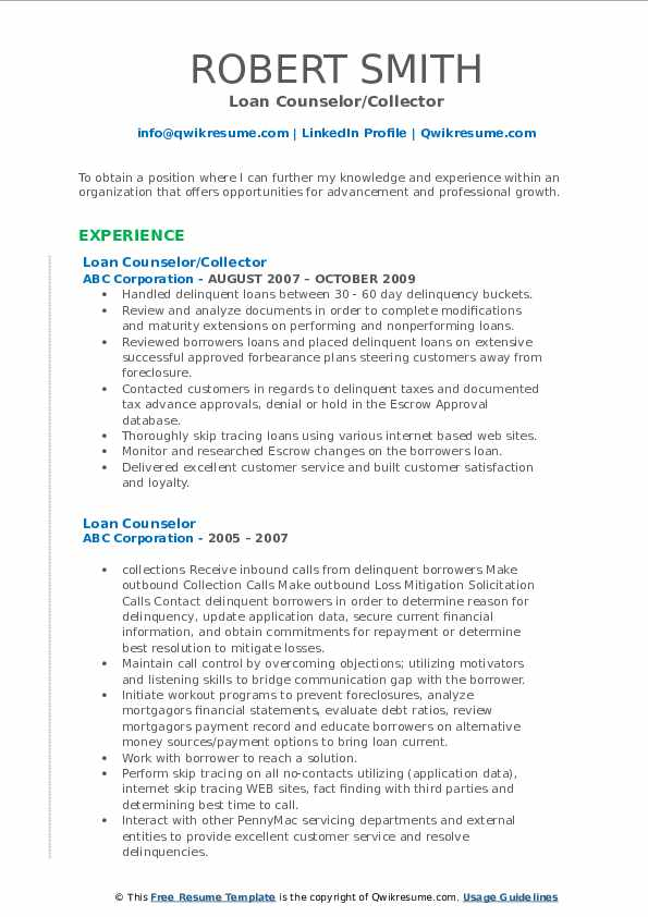 Loan Counselor/Collector Resume Template