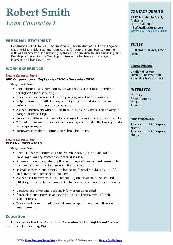 Loan Counselor I Resume Example