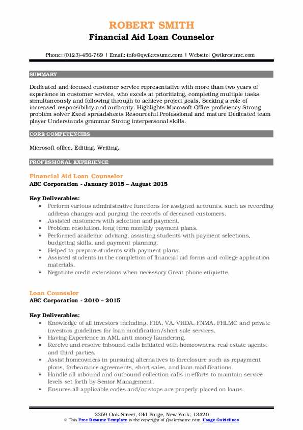 Financial Aid Loan Counselor Resume Example
