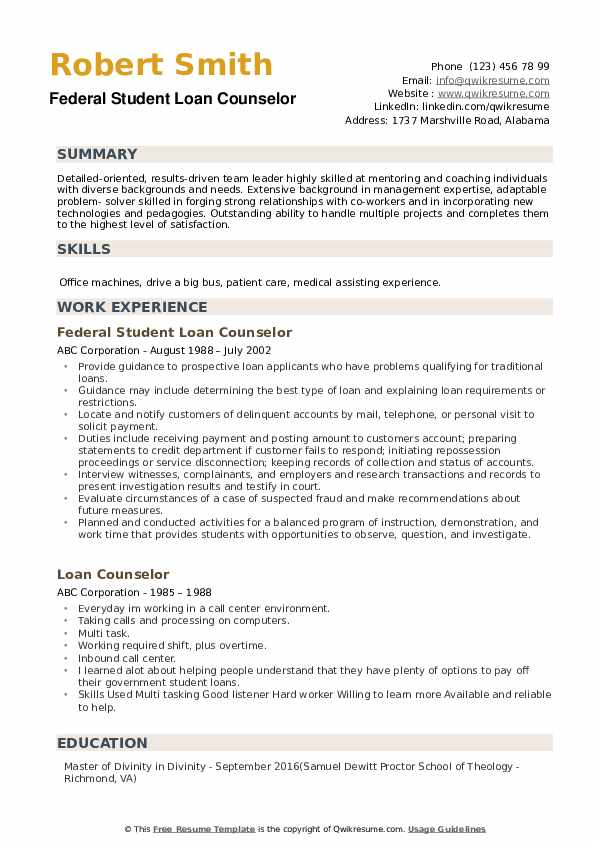 Federal Student Loan Counselor Resume Format