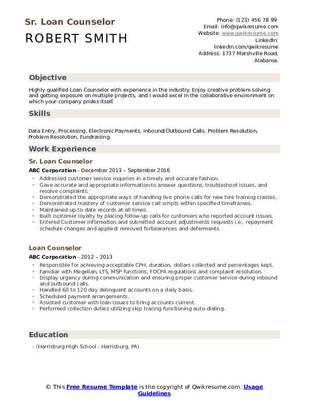 Sr. Loan Counselor Resume Example