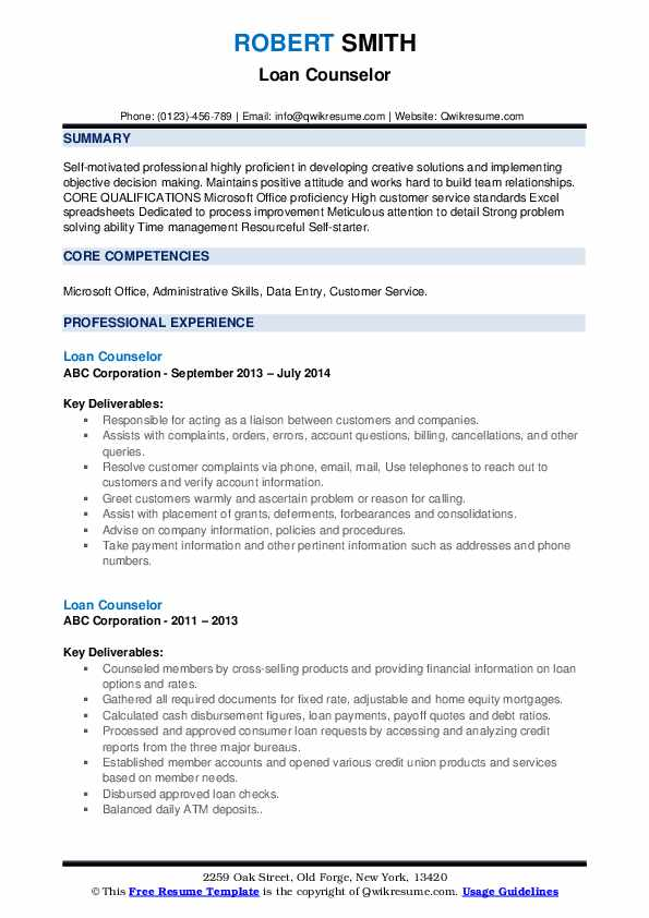 Loan Counselor Resume example