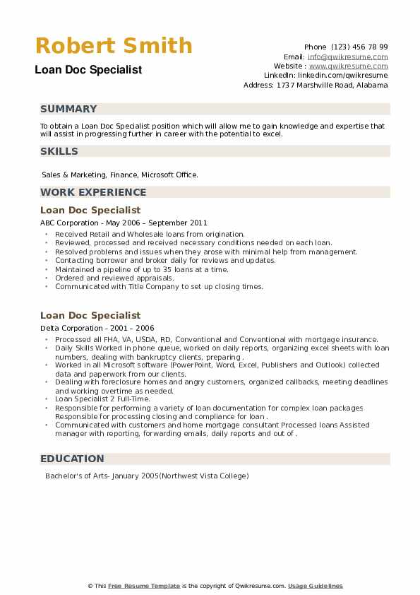Loan Doc Specialist Resume example