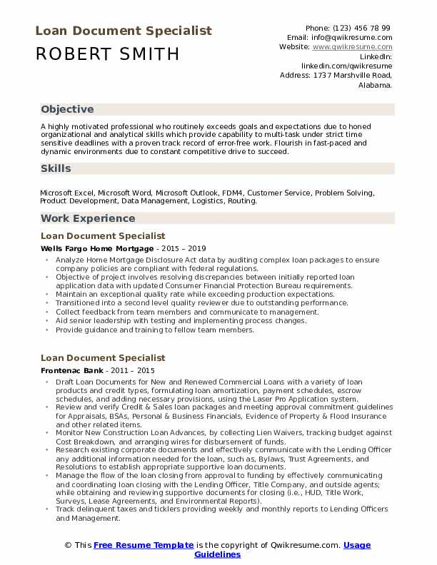 Loan Document Specialist Resume Template