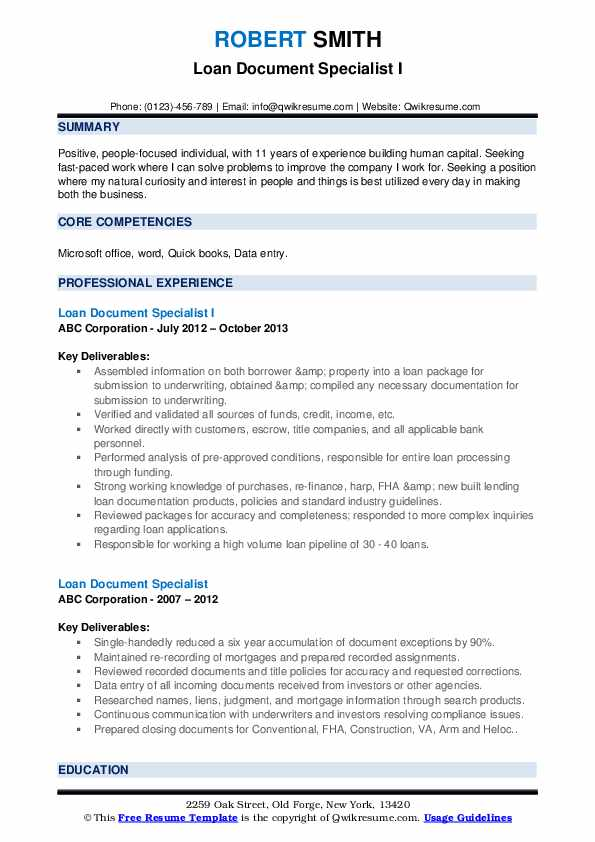 Loan Document Specialist I Resume Template
