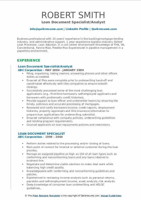 Loan Document Specialist/Analyst Resume Model