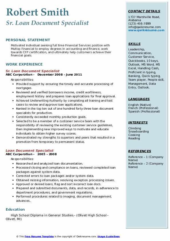 Sr. Loan Document Specialist Resume Model