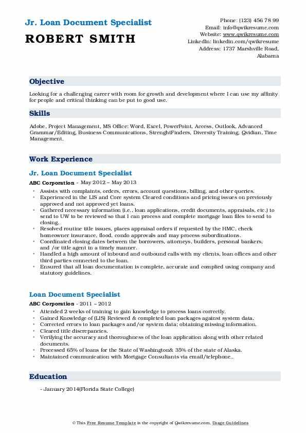 Jr. Loan Document Specialist Resume Format