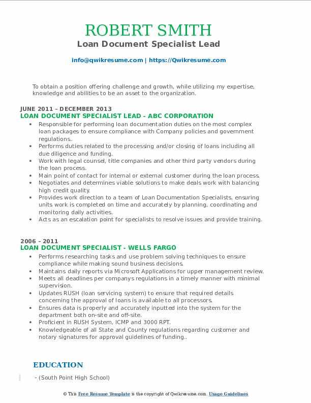 Loan Document Specialist Lead Resume Sample