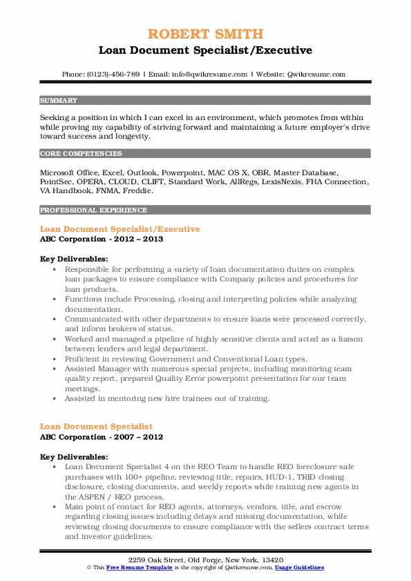 Loan Document Specialist/Executive Resume Template
