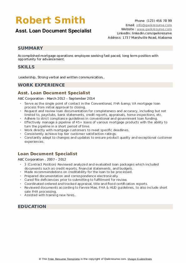 Asst. Loan Document Specialist Resume Template