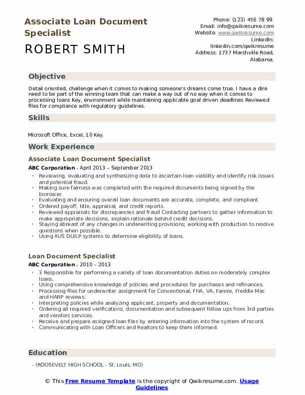 loan document specialist resume samples  qwikresume