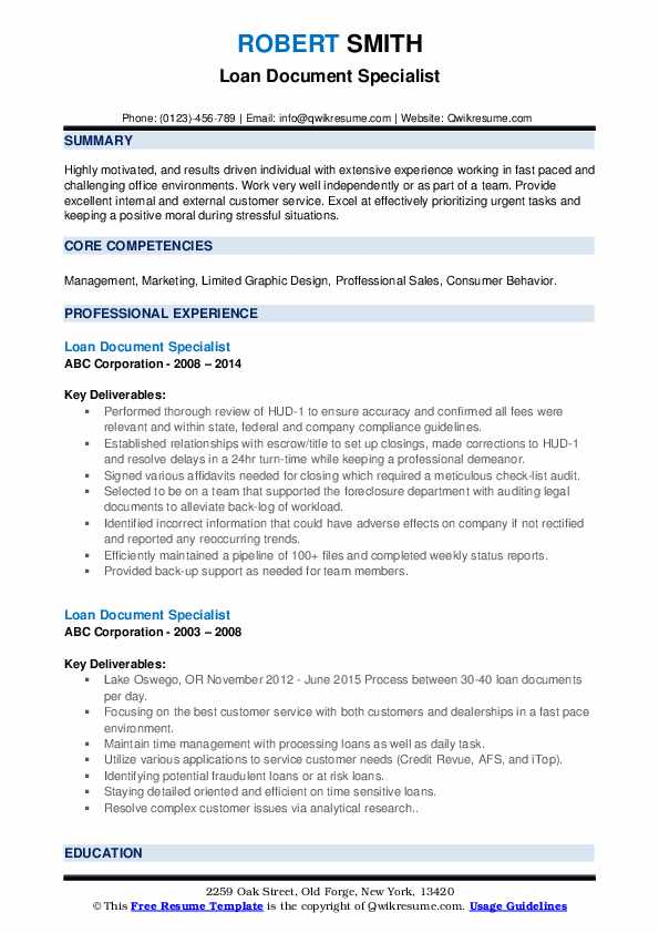 Loan Document Specialist Resume example