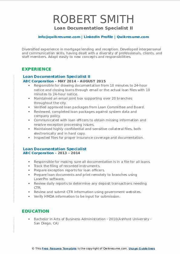 loan documentation specialist resume samples  qwikresume