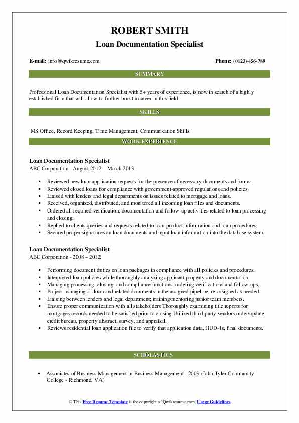 Loan Documentation Specialist Resume example