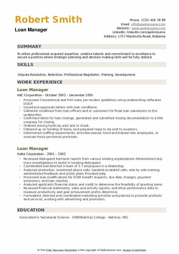 Loan Manager Resume example