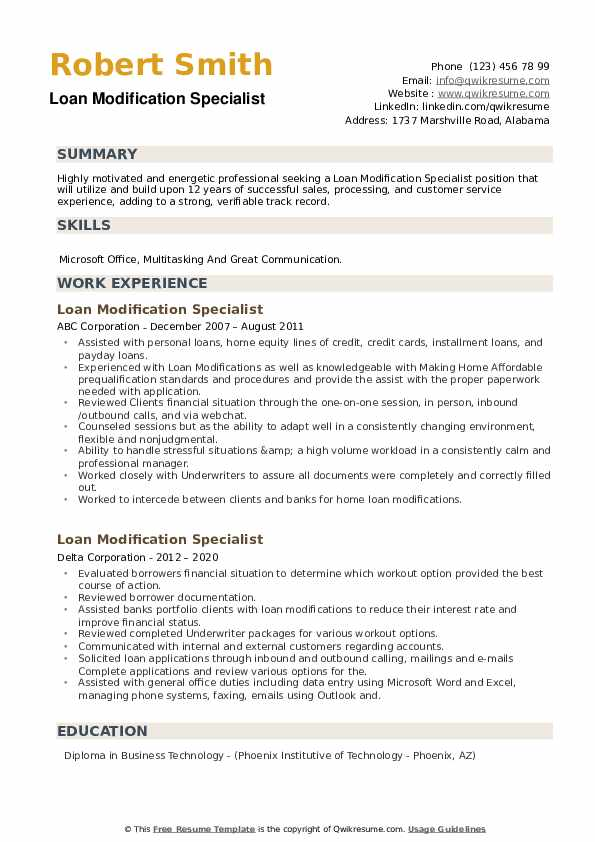 Loan Modification Specialist Resume example
