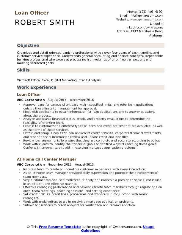 Loan Officer Resume Format
