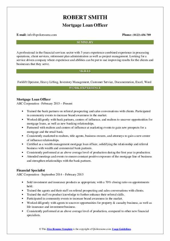 Loan Officer Resume Samples Qwikresume