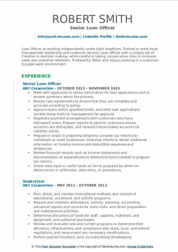 Senior Loan Officer Resume Example