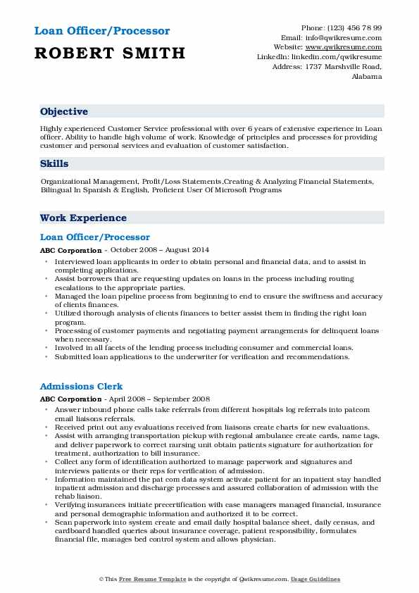 Loan Officer/Processor Resume Sample