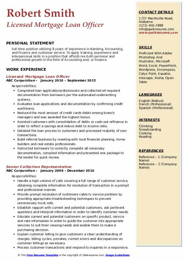Licensed Mortgage Loan Officer Resume Example