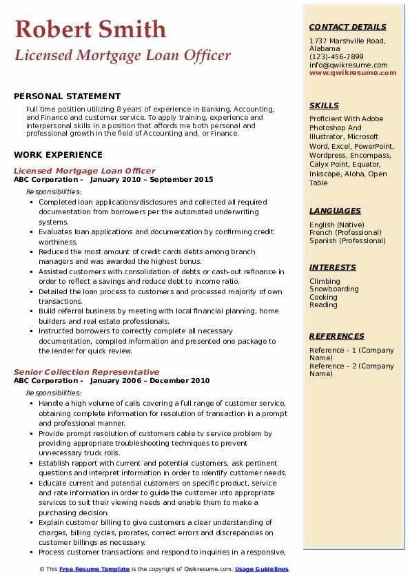 Licensed Mortgage Loan Officer Resume Template