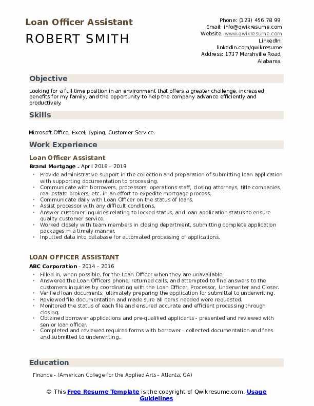 loan officer assistant resume samples