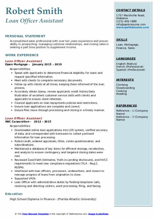 loan officer assistant resume samples