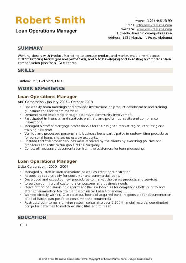 Loan Operations Manager Resume example