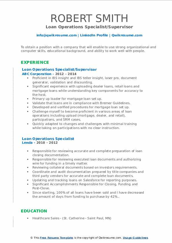 Loan Operations Specialist Resume Samples Qwikresume