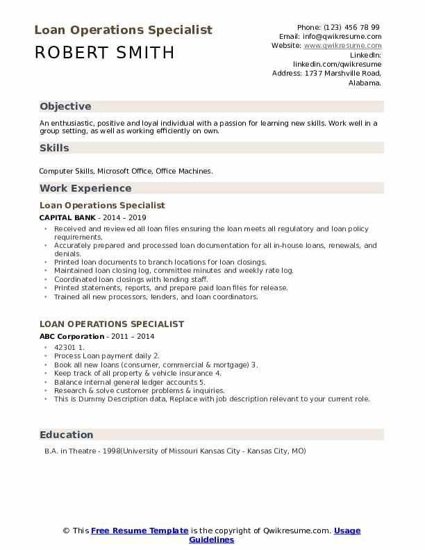 loan operations specialist resume samples