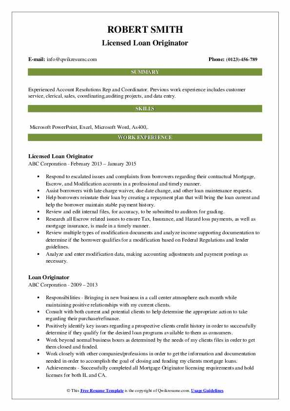 loan originator resume samples
