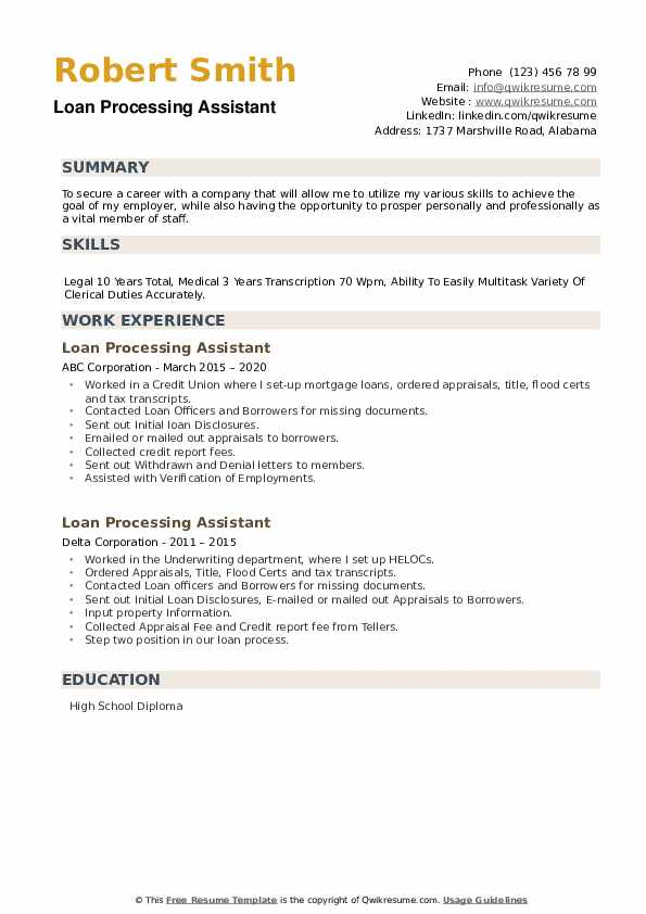 Loan Processing Assistant Resume example