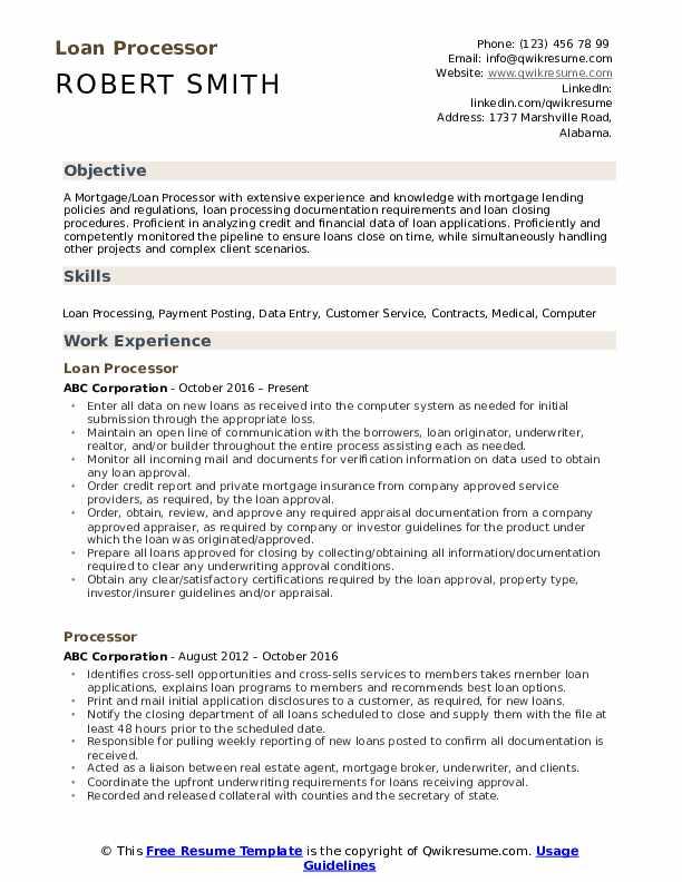 Loan Processor Resume Template