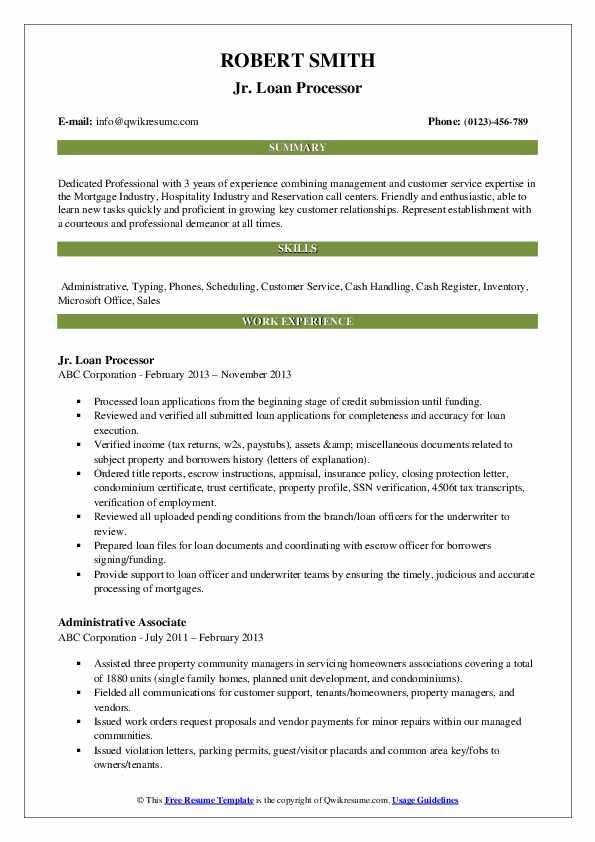 Jr. Loan Processor Resume Model