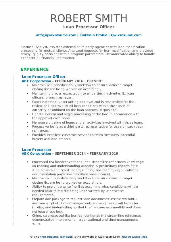 Loan Processor Officer Resume Template