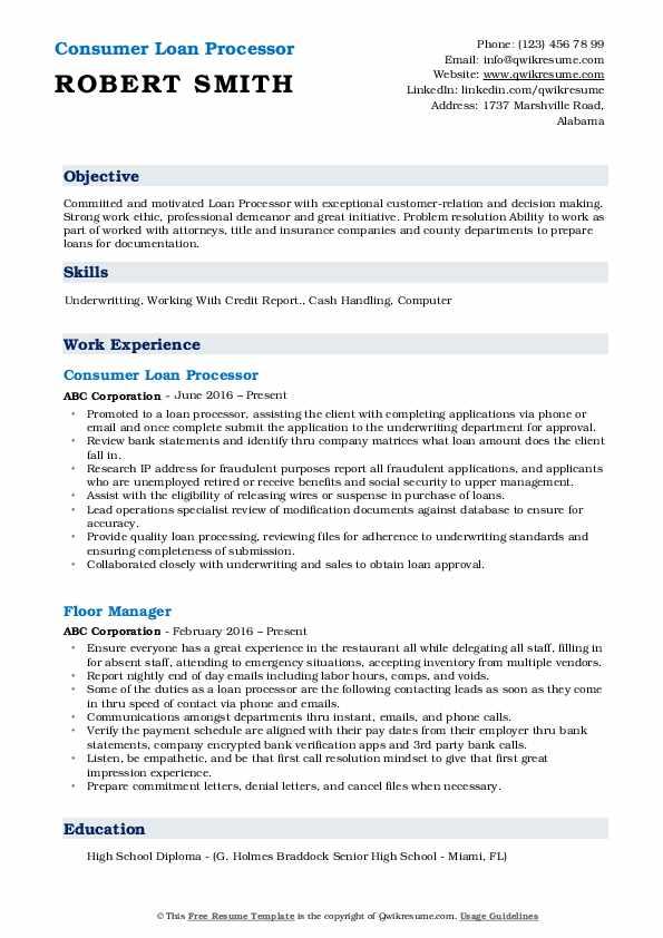 Consumer Loan Processor Resume Example