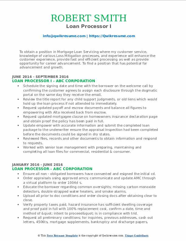 Loan Processor I Resume Format