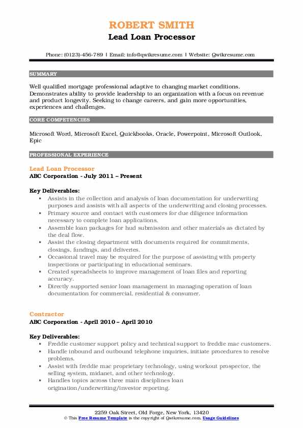 Loan Processor Resume Samples Qwikresume