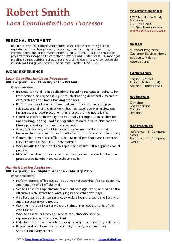 Loan Coordinator/Loan Processor Resume Model