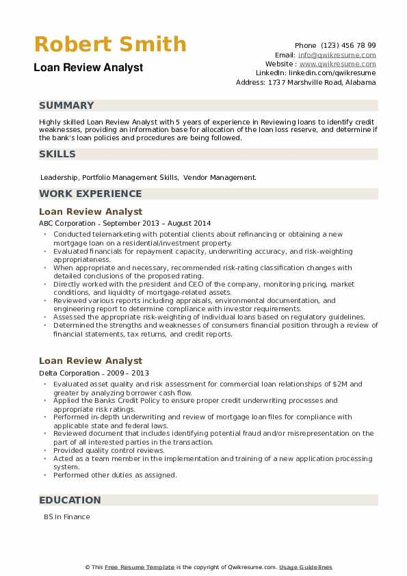 Loan Review Analyst Resume example